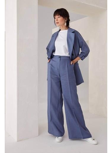 Vivencia Cepli Keten Kadın Pantolon Lacivert Lacivert